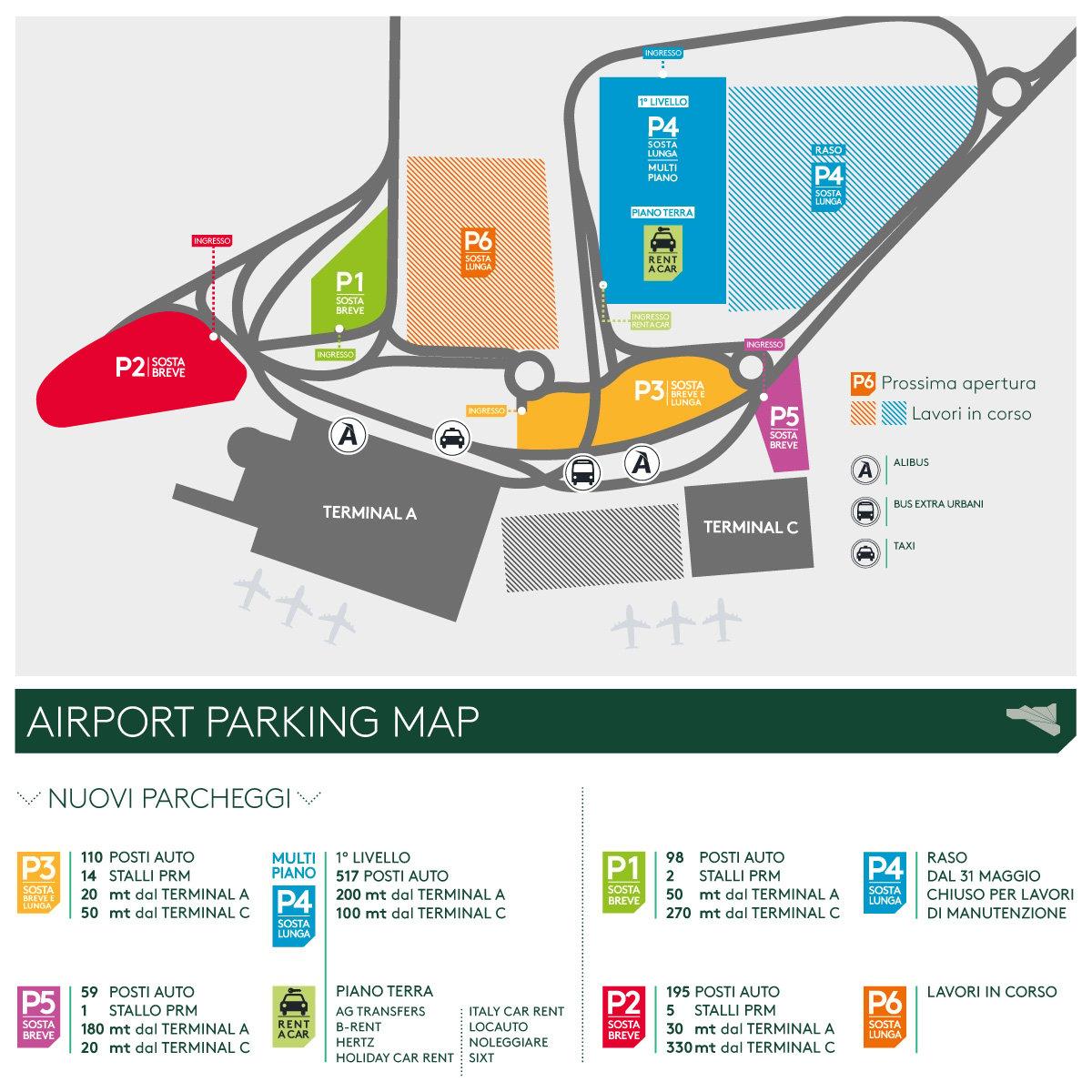 mappa viabilità e parking - aeroporto internazionale catania