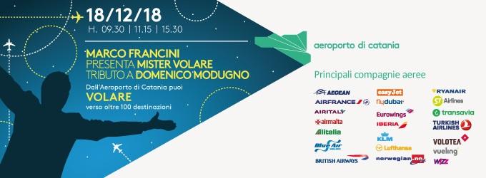 Musica: martedì 18 tributo a Modugno con Mister Volare. Da Catania verso oltre 100 destinazioni
