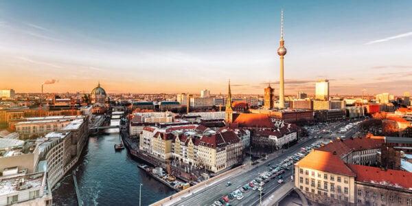 Vista panoramica di Berlino e della torre della televisione