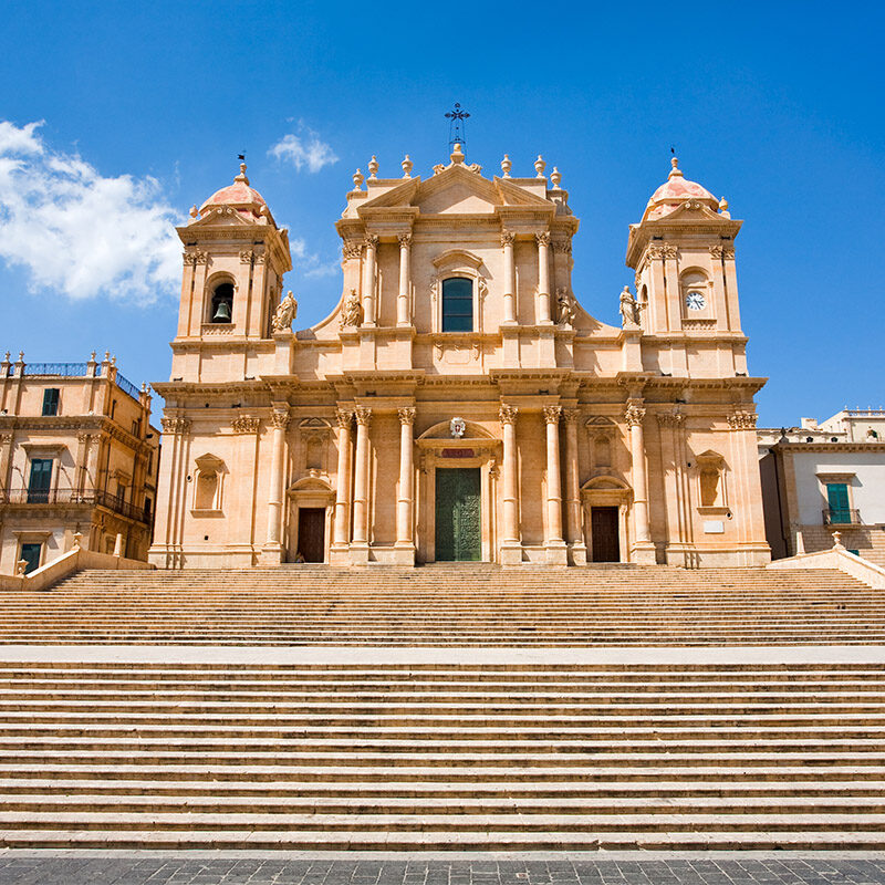 the Cathedral in late Baroque style town Noto, Sicily, Italy