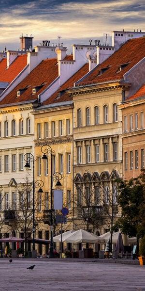 Krakowskie Przedmieście street in the morning, Warsaw, Poland